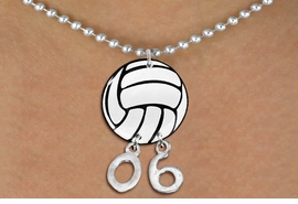 <BR>          NICKEL FREE & ADJUSTABLE!<Br>                  EXCLUSIVELY OURS!!<Br>            AN ALLAN ROBIN DESIGN!!<Br>                 LEAD & NICKEL FREE!! <BR>       THIS IS A PERSONALIZED ITEM <Br>W21715N - SILVER TONE BALL CHAIN <BR>NECKLACE AND VOLLEYBALL PENDANT <BR>         WITH YOUR TEAM NUMBER <BR>        FROM $7.65 TO $17.00 �2014