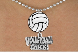 "<Br>                  EXCLUSIVELY OURS!!<Br>            AN ALLAN ROBIN DESIGN!!<Br>                 LEAD & NICKEL FREE!! <Br>W21716N - SILVER TONE BALL CHAIN <BR>NECKLACE AND VOLLEYBALL PENDANT <BR>WITH SILVER TONE ""VOLLEYBALL CHICK!"" CHARM <BR>        FROM $7.31 TO $16.25 �2015"