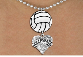 "<Br>                  EXCLUSIVELY OURS!!<Br>            AN ALLAN ROBIN DESIGN!!<Br>                 LEAD & NICKEL FREE!! <Br>W21717N - SILVER TONE BALL CHAIN <BR>NECKLACE AND VOLLEYBALL PENDANT <BR>WITH CRYSTAL & SILVER TONE ""VOLLEYBALL"" HEART CHARM <BR>        FROM $7.31 TO $16.25 �2015"