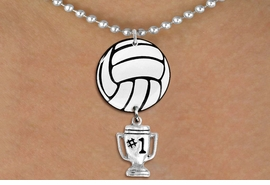 "<BR>         NICKEL FREE & ADJUSTABLE!<Br>                  EXCLUSIVELY OURS!!<Br>            AN ALLAN ROBIN DESIGN!!<Br>                 LEAD & NICKEL FREE!! <Br>W21719N - SILVER TONE BALL CHAIN <BR>NECKLACE AND VOLLEYBALL PENDANT <BR>WITH SILVER TONE ""#1 TROPHY"" CHARM <BR>        FROM $7.31 TO $16.25 �2015"