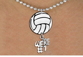 "<Br>                  EXCLUSIVELY OURS!!<Br>            AN ALLAN ROBIN DESIGN!!<Br>                 LEAD & NICKEL FREE!! <Br>W21720N - SILVER TONE BALL CHAIN <BR>NECKLACE AND VOLLEYBALL PENDANT <BR>WITH SILVER TONE ""WE'RE #1"" CHARM <BR>        FROM $7.31 TO $16.25 �2015"
