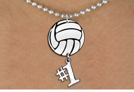 "<Br>                  EXCLUSIVELY OURS!!<Br>            AN ALLAN ROBIN DESIGN!!<Br>                 LEAD & NICKEL FREE!! <Br>W21721N - SILVER TONE BALL CHAIN <BR>NECKLACE AND VOLLEYBALL PENDANT <BR>WITH SILVER TONE ""#1"" CHARM <BR>        FROM $7.31 TO $16.25 �2015"