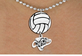 "<BR>          NICKEL FREE & ADJUSTABLE!<Br>                  EXCLUSIVELY OURS!!<Br>            AN ALLAN ROBIN DESIGN!!<Br>                 LEAD & NICKEL FREE!! <Br>W21722N - SILVER TONE BALL CHAIN <BR>NECKLACE AND VOLLEYBALL PENDANT <BR>WITH SILVER TONE ""CAPTAIN"" CHARM <BR>        FROM $7.31 TO $16.25 �2015"