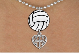 <Br>                  EXCLUSIVELY OURS!!<Br>            AN ALLAN ROBIN DESIGN!!<Br>                 LEAD & NICKEL FREE!! <Br>W21723N - SILVER TONE BALL CHAIN <BR>NECKLACE AND VOLLEYBALL PENDANT <BR>WITH DETAILED CROSS HEART CHARM <BR>        FROM $7.31 TO $16.25 �2015