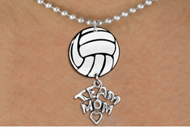 "<BR>   NICKEL FREE & ADJUSTABLE NECKLACE !<Br>                  EXCLUSIVELY OURS!!<Br>            AN ALLAN ROBIN DESIGN!!<Br>                 LEAD & NICKEL FREE!! <Br>W21725N - SILVER TONE BALL CHAIN <BR>NECKLACE AND VOLLEYBALL PENDANT <BR>WITH SILVER TONE ""TEAM MOM"" CHARM <BR>        FROM $7.31 TO $16.25 �2015"