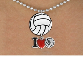 "<Br>                  EXCLUSIVELY OURS!!<Br>            AN ALLAN ROBIN DESIGN!!<Br>                 LEAD & NICKEL FREE!! <Br>W21726N - SILVER TONE BALL CHAIN <BR>NECKLACE AND VOLLEYBALL PENDANT <BR>WITH SILVER TONE ""I LOVE SOCCER"" CHARM <BR>        FROM $7.31 TO $16.25 �2015"