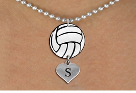 <Br>                  EXCLUSIVELY OURS!!<Br>            AN ALLAN ROBIN DESIGN!!<Br>                 LEAD & NICKEL FREE!! <Br>W21727N - SILVER TONE BALL CHAIN <BR>NECKLACE AND VOLLEYBALL PENDANT <BR>WITH CUSTOM INITIAL HEART CHARM <BR>        FROM $7.31 TO $16.25 �2015