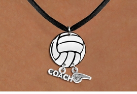 "<BR>   NICKEL FREE & ADJUSTABLE NECKLACE !<Br>                  EXCLUSIVELY OURS!!<Br>            AN ALLAN ROBIN DESIGN!!<Br>                 LEAD & NICKEL FREE!! <BR>       THIS IS A PERSONALIZED ITEM <Br>W21728N - BLACK SUEDE LEATHERETTE <BR>NECKLACE AND VOLLEYBALL PENDANT <BR>WITH ""COACH"" AND ""WHISTLE"" CHARMS<BR>        FROM $7.65 TO $17.00 �2014"