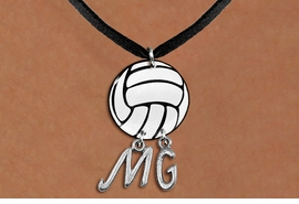 <Br>                  EXCLUSIVELY OURS!!<Br>            AN ALLAN ROBIN DESIGN!!<Br>                 LEAD & NICKEL FREE!! <BR>       THIS IS A PERSONALIZED ITEM <Br>W21729N - BLACK SUEDE LEATHERETTE <BR>NECKLACE AND VOLLEYBALL PENDANT <BR>            WITH YOUR INITIALS <BR>        FROM $7.65 TO $17.00 �2014