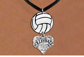"<BR>                NICKEL FREE & ADJUSTABLE NECKLACE !<Br>                                          EXCLUSIVELY OURS!!<Br>                                    AN ALLAN ROBIN DESIGN!!<Br>                                         LEAD & NICKEL FREE!! <Br>                        W21732N - BLACK SUEDE LEATHERETTE <BR>                         NECKLACE AND VOLLEYBALL PENDANT <BR>     WITH CRYSTAL & SILVER TONE ""VOLLEYBALL"" HEART CHARM <BR>                                FROM $7.31 TO $16.25 �2015"