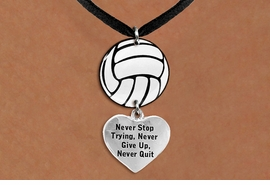 "<Br>                  EXCLUSIVELY OURS!!<Br>            AN ALLAN ROBIN DESIGN!!<Br>                 LEAD & NICKEL FREE!! <Br>W21733N - BLACK SUEDE LEATHERETTE <BR>NECKLACE AND VOLLEYBALL PENDANT <BR>WITH ""NEVER STOP TRYING..."" HEART CHARM <BR>        FROM $7.31 TO $16.25 �2015"