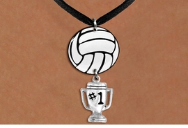 "<BR>   NICKEL FREE & ADJUSTABLE NECKLACE !<Br>                  EXCLUSIVELY OURS!!<Br>            AN ALLAN ROBIN DESIGN!!<Br>                 LEAD & NICKEL FREE!! <Br>W21734N - BLACK SUEDE LEATHERETTE <BR>NECKLACE AND VOLLEYBALL PENDANT <BR>WITH SILVER TONE ""#1 TROPHY"" CHARM <BR>        FROM $7.31 TO $16.25 �2015"