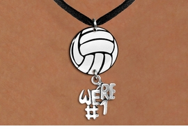 "<Br>                  EXCLUSIVELY OURS!!<Br>            AN ALLAN ROBIN DESIGN!!<Br>                 LEAD & NICKEL FREE!! <Br>W21735N - BLACK SUEDE LEATHERETTE <BR>NECKLACE AND VOLLEYBALL PENDANT <BR>WITH SILVER TONE ""WE'RE #1"" CHARM <BR>        FROM $7.31 TO $16.25 �2015"