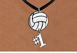 "<Br>                  EXCLUSIVELY OURS!!<Br>            AN ALLAN ROBIN DESIGN!!<Br>                 LEAD & NICKEL FREE!! <Br>W21736N - BLACK SUEDE LEATHERETTE <BR>NECKLACE AND VOLLEYBALL PENDANT <BR>WITH SILVER TONE ""#1"" CHARM <BR>        FROM $7.31 TO $16.25 �2015"