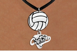 "<Br>                  EXCLUSIVELY OURS!!<Br>            AN ALLAN ROBIN DESIGN!!<Br>                 LEAD & NICKEL FREE!! <Br>W21737N - BLACK SUEDE LEATHERETTE <BR>NECKLACE AND VOLLEYBALL PENDANT <BR>WITH SILVER TONE ""CAPTAIN"" CHARM <BR>        FROM $7.31 TO $16.25 �2015"