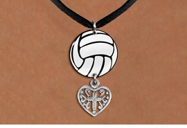 <BR>   NICKEL FREE & ADJUSTABLE NECKLACE !<Br>                  EXCLUSIVELY OURS!!<Br>            AN ALLAN ROBIN DESIGN!!<Br>                 LEAD & NICKEL FREE!! <Br>W21738N - BLACK SUEDE LEATHERETTE <BR>NECKLACE AND VOLLEYBALL PENDANT <BR>WITH DETAILED CROSS HEART CHARM <BR>        FROM $7.31 TO $16.25 �2015