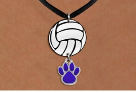 <Br>                  EXCLUSIVELY OURS!!<Br>            AN ALLAN ROBIN DESIGN!!<Br>                 LEAD & NICKEL FREE!! <Br>W21739N - BLACK SUEDE LEATHERETTE <BR>NECKLACE AND VOLLEYBALL PENDANT <BR>WITH YOUR CUSTOM COLOR PAW PRINT CHARM <BR>        FROM $7.31 TO $16.25 �2015