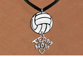 "<Br>                  EXCLUSIVELY OURS!!<Br>            AN ALLAN ROBIN DESIGN!!<Br>                 LEAD & NICKEL FREE!! <Br>W21740N - BLACK SUEDE LEATHERETTE <BR>NECKLACE AND VOLLEYBALL PENDANT <BR>WITH SILVER TONE ""TEAM MOM"" CHARM <BR>        FROM $7.31 TO $16.25 �2015"