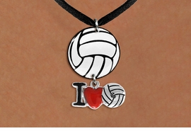 "<Br>                  EXCLUSIVELY OURS!!<Br>            AN ALLAN ROBIN DESIGN!!<Br>                 LEAD & NICKEL FREE!! <Br>W21741N - BLACK SUEDE LEATHERETTE <BR>NECKLACE AND VOLLEYBALL PENDANT <BR>WITH SILVER TONE ""I LOVE SOCCER"" CHARM <BR>        FROM $7.31 TO $16.25 �2015"