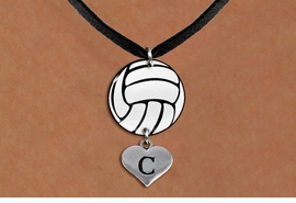 <BR>   NICKEL FREE & ADJUSTABLE NECKLACE !<Br>                  EXCLUSIVELY OURS!!<Br>            AN ALLAN ROBIN DESIGN!!<Br>                 LEAD & NICKEL FREE!! <Br>W21742N - BLACK SUEDE LEATHERETTE <BR>NECKLACE AND VOLLEYBALL PENDANT <BR>WITH CUSTOM INITIAL HEART CHARM <BR>        FROM $7.31 TO $16.25 �2015