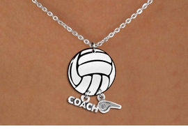 "<Br>                  EXCLUSIVELY OURS!!<Br>            AN ALLAN ROBIN DESIGN!!<Br>                 LEAD & NICKEL FREE!! <BR>       THIS IS A PERSONALIZED ITEM <Br>W21743N - LOBSTER CLASP CHAIN LINK <BR>NECKLACE AND VOLLEYBALL PENDANT <BR>WITH ""COACH"" AND ""WHISTLE"" CHARMS<BR>        FROM $7.65 TO $17.00 �2014"