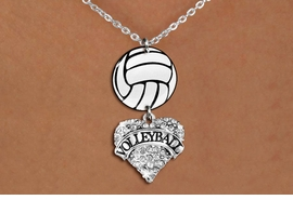"<Br>                  EXCLUSIVELY OURS!!<Br>            AN ALLAN ROBIN DESIGN!!<Br>                 LEAD & NICKEL FREE!! <Br>W21747N - LOBSTER CLASP CHAIN LINK <BR>NECKLACE AND VOLLEYBALL PENDANT <BR>WITH CRYSTAL & SILVER TONE ""VOLLEYBALL"" HEART CHARM <BR>        FROM $7.31 TO $16.25 �2015"