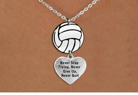 "<BR>   NICKEL FREE & ADJUSTABLE NECKLACE !<Br>                  EXCLUSIVELY OURS!!<Br>            AN ALLAN ROBIN DESIGN!!<Br>                 LEAD & NICKEL FREE!! <Br>W21748N - LOBSTER CLASP CHAIN LINK <BR>NECKLACE AND VOLLEYBALL PENDANT <BR>WITH ""NEVER STOP TRYING..."" HEART CHARM <BR>        FROM $7.31 TO $16.25 �2015"