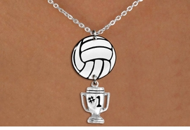 "<Br>                  EXCLUSIVELY OURS!!<Br>            AN ALLAN ROBIN DESIGN!!<Br>                 LEAD & NICKEL FREE!! <Br>W21749N - LOBSTER CLASP CHAIN LINK <BR>NECKLACE AND VOLLEYBALL PENDANT <BR>WITH SILVER TONE ""#1 TROPHY"" CHARM <BR>        FROM $7.31 TO $16.25 �2015"