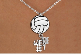 "<Br>                  EXCLUSIVELY OURS!!<Br>            AN ALLAN ROBIN DESIGN!!<Br>                 LEAD & NICKEL FREE!! <Br>W21750N - LOBSTER CLASP CHAIN LINK <BR>NECKLACE AND VOLLEYBALL PENDANT <BR>WITH SILVER TONE ""#1 TROPHY"" CHARM <BR>        FROM $7.31 TO $16.25 �2015"