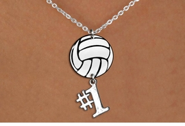 "<BR>   NICKEL FREE & ADJUSTABLE NECKLACE !<Br>                  EXCLUSIVELY OURS!!<Br>            AN ALLAN ROBIN DESIGN!!<Br>                 LEAD & NICKEL FREE!! <Br>W21751N - LOBSTER CLASP CHAIN LINK <BR>NECKLACE AND VOLLEYBALL PENDANT <BR>WITH SILVER TONE ""#1"" CHARM <BR>        FROM $7.31 TO $16.25 �2015"