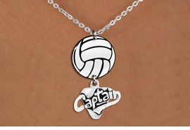 "<Br>                  EXCLUSIVELY OURS!!<Br>            AN ALLAN ROBIN DESIGN!!<Br>                 LEAD & NICKEL FREE!! <Br>W21752N - LOBSTER CLASP CHAIN LINK <BR>NECKLACE AND VOLLEYBALL PENDANT <BR>WITH SILVER TONE ""CAPTAIN"" CHARM <BR>        FROM $7.31 TO $16.25 �2015"