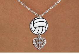<Br>                  EXCLUSIVELY OURS!!<Br>            AN ALLAN ROBIN DESIGN!!<Br>                 LEAD & NICKEL FREE!! <Br>W21753N - LOBSTER CLASP CHAIN LINK <BR>NECKLACE AND VOLLEYBALL PENDANT <BR>WITH DETAILED CROSS HEART CHARM <BR>        FROM $7.31 TO $16.25 �2015