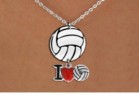 "<Br>                  EXCLUSIVELY OURS!!<Br>            AN ALLAN ROBIN DESIGN!!<Br>                 LEAD & NICKEL FREE!! <Br>W21756N - LOBSTER CLASP CHAIN LINK <BR>NECKLACE AND VOLLEYBALL PENDANT <BR>WITH SILVER TONE ""I LOVE SOCCER"" CHARM <BR>        FROM $7.31 TO $16.25 �2015"