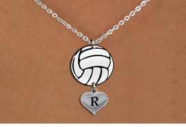 <Br>                  EXCLUSIVELY OURS!!<Br>            AN ALLAN ROBIN DESIGN!!<Br>                 LEAD & NICKEL FREE!! <Br>W21757N - LOBSTER CLASP CHAIN LINK <BR>NECKLACE AND VOLLEYBALL PENDANT <BR>WITH CUSTOM INITIAL HEART CHARM <BR>        FROM $7.31 TO $16.25 �2015