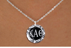 <BR>       NICKEL FREE & ADJUSTABLE NECKLACE !<bR>     WHOLESALE FASHION SORORITY JEWELRY   <BR>                     EXCLUSIVELY OURS!!   <BR>                AN ALLAN ROBIN DESIGN!!   <BR>          LEAD, NICKEL & CADMIUM FREE!!   <BR>     W21781SN - OFFICIAL B&W FLORAL GREEK <BR>LETTER SORORITY DISK CHARM ON LOBSTER CLASP <Br>ADJUSTABLE CHAIN NECKLACE FROM $5.90 TO $9.25 �2015