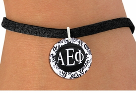 <BR>          NICKEL FREE & ADJUSTABLE BRACELET !<bR>        WHOLESALE FASHION SORORITY JEWELRY  <BR>                        EXCLUSIVELY OURS!!   <BR>                   AN ALLAN ROBIN DESIGN!!   <BR>             LEAD, NICKEL & CADMIUM FREE!!   <BR>W21784SB - OFFICIAL GREEK LETTER SORORITY  <BR>    B&W FLORAL DISK CHARM ON ADJUSTABLE BLACK <Br> SUEDE BRACELET FROM $5.90 TO $9.25 �2015