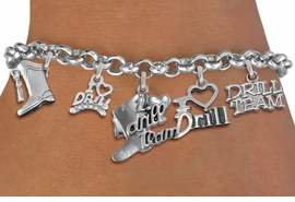 "<Br>                   EXCLUSIVELY OURS!!  <Br>              AN ALLAN ROBIN DESIGN!!  <Br>        CADMIUM, LEAD & NICKEL FREE!!  <Br>     W21796B - SILVER TONE DRILL TEAM  <BR>""I LOVE DRILL TEAM"" THEMED FIVE CHARM <BR> BRACELET FROM $7.31 TO $16.25  �2015"