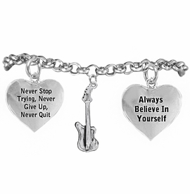 <BR>       WHOLESALE MUSIC & BAND JEWELRY  <BR>            COMPLETELY HYPOALLERGENIC  <BR>        NICKEL, LEAD & CADMIUM FREE!!  <BR>   W21807B2 - 3D DETAILED SILVER TONE  <BR>       ELECTRIC GUITAR CHARM ON CHAIN  <BR>     LINK BRACELET WITH LOBSTER CLASP  <BR>           FROM $9.73 TO $14.58 �2015