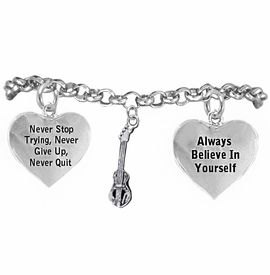 <BR>       WHOLESALE MUSIC & BAND JEWELRY  <BR>            COMPLETELY HYPOALLERGENIC  <BR>        NICKEL, LEAD & CADMIUM FREE!!  <BR>   W21808B2 - 3D DETAILED SILVER TONE  <BR>  ELECTRIC BASS GUITAR CHARM ON CHAIN  <BR>     LINK BRACELET WITH LOBSTER CLASP  <BR>           FROM $9.73 TO $14.58 �2015