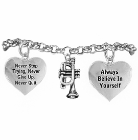 <BR>       WHOLESALE MUSIC & BAND JEWELRY  <BR>            COMPLETELY HYPOALLERGENIC  <BR>        NICKEL, LEAD & CADMIUM FREE!!  <BR>   W21810B2 - 3D DETAILED SILVER TONE  <BR>               TRUMPET CHARM ON CHAIN  <BR>     LINK BRACELET WITH LOBSTER CLASP  <BR>           FROM $9.73 TO $14.58 �2015
