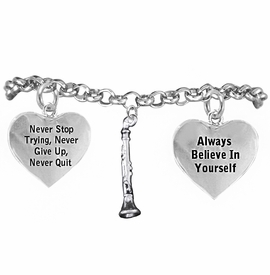 <BR>       WHOLESALE MUSIC & BAND JEWELRY   <BR>            COMPLETELY HYPOALLERGENIC   <BR>        NICKEL, LEAD & CADMIUM FREE!!   <BR>   W21813B2 - 3D DETAILED SILVER TONE   <BR>    BEAUTIFUL CLARINET CHARM ON CHAIN   <BR>     LINK BRACELET WITH LOBSTER CLASP   <BR>           FROM $9.73 TO $14.58 �2015