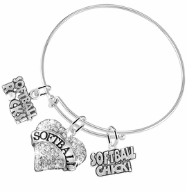 "<BR>     WHOLESALE SPORTS FASHION JEWELRY    <BR>            COMPLETELY HYPOALLERGENIC    <BR>   W21822B9 - CRYSTAL AND SILVER TONE    <BR>          ""SOFTBALL"" HEART CHARM WITH   <BR>  SOFTBALL ROCKS! AND SOFTBALL CHICK!  <BR>  ON ADJUSTABLE SILVER TONE THIN WIRE  <BR> BRACELET FROM $10.75 TO $16.25 �2015"