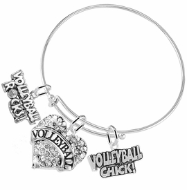 "<BR>         WHOLESALE SPORTS FASHION JEWELRY    <BR>                COMPLETELY HYPOALLERGENIC    <BR>       W21823B9 - CRYSTAL AND SILVER TONE    <BR>            ""VOLLEYBALL"" HEART CHARM WITH   <BR>  VOLLEYBALL ROCKS! AND VOLLEYBALL CHICK!  <BR>      ON ADJUSTABLE SILVER TONE THIN WIRE  <BR>     BRACELET FROM $10.75 TO $16.25 �2015"