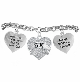 "<BR>WHOLESALE RUNNING WALKING THEMED JEWELRY    <BR>                  COMPLETELY HYPOALLERGENIC    <BR>    W21879B2 - CLEAR CRYSTAL AND SILVER TONE     <BR> ""5K"" RUN / WALK THEMED HEART CHARM WITH   <BR>""NEVER QUIT""&""ALWAYS BELIEVE IN YOURSELF""  <BR>    ON SILVER TONE CHAIN LINK LOBSTER CLASP   <BR>       BRACELET FROM $10.75 TO $16.25 �2015"