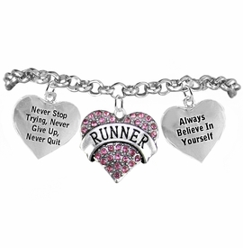 "<BR>   WHOLESALE RUNNING WALKING THEMED JEWELRY    <BR>                  COMPLETELY HYPOALLERGENIC    <BR>    W21883B2 - PINK CRYSTAL AND SILVER TONE    <BR>           ""RUNNER"" THEMED HEART CHARM WITH   <BR>""NEVER QUIT"" & ""ALWAYS BELIEVE IN YOURSELF""  <BR>    ON SILVER TONE CHAIN LINK LOBSTER CLASP   <BR>       BRACELET FROM $10.75 TO $16.25 �2015"