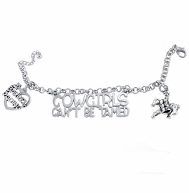 "<BR>  WHOLESALE WESTERN RODEO FASHION JEWELRY     <BR>                COMPLETELY HYPOALLERGENIC     <BR>    W21892B2 - LARGE POLISHED SILVER TONE     <BR>""COWGIRLS CAN'T BE TAMED"" CHARM WITH LADY    <BR>  BARREL RACER AND ""I LOVE BARREL RACING""  <BR>  ON SILVER TONE CHAIN LINK LOBSTER CLASP    <BR>     BRACELET FROM $11.75 TO $17.50 �2015"