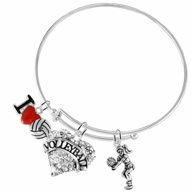 "<BR>           WHOLESALE SPORTS FASHION JEWELRY     <BR>                  COMPLETELY HYPOALLERGENIC     <BR>         W22029B9 - CRYSTAL AND SILVER TONE     <BR>              ""VOLLEYBALL"" HEART CHARM WITH    <BR>I LOVE VOLLEYBALL AND LADY VOLLEYBALL PLAYER  <BR>        ON ADJUSTABLE SILVER TONE THIN WIRE   <BR>       BRACELET FROM $10.75 TO $16.25 �2015"