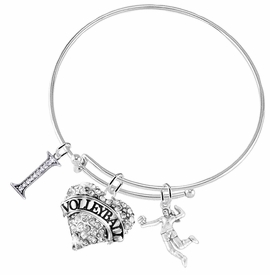 "<BR>           WHOLESALE SPORTS FASHION JEWELRY     <BR>                  COMPLETELY HYPOALLERGENIC     <BR>         W22032B9 - CRYSTAL AND SILVER TONE     <BR>         ""I"", HEART ""VOLLEYBALL"" CHARM WITH    <BR>      3D SILVER TONE LADY VOLLEYBALL PLAYER  <BR>        ON ADJUSTABLE SILVER TONE THIN WIRE   <BR>       BRACELET FROM $10.75 TO $16.25 �2015"