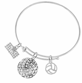 "<BR>           WHOLESALE SPORTS FASHION JEWELRY     <BR>                  COMPLETELY HYPOALLERGENIC     <BR> W22037B9 - SILVER TONE AND CRYSTAL COVERED     <BR>   ""VOLLEYBALL"" BALL CHARM WITH SILVER TONE  <BR>   VOLLEYBALL BALL WITH NET & OUTLINED BALL <BR>        ON ADJUSTABLE SILVER TONE THIN WIRE   <BR>       BRACELET FROM $10.75 TO $16.25 �2015"