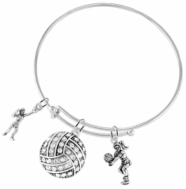 <BR>           WHOLESALE SPORTS FASHION JEWELRY     <BR>                  COMPLETELY HYPOALLERGENIC     <BR>         W22038B9 - SILVER TONE AND CRYSTAL <BR>      COVERED VOLLEYBALL BALL FRAMED BY TWO <BR>        SILVER TONE LADY VOLLEYBALL PLAYERS <BR>        ON ADJUSTABLE SILVER TONE THIN WIRE    <BR>       BRACELET FROM $10.75 TO $16.25 �2015